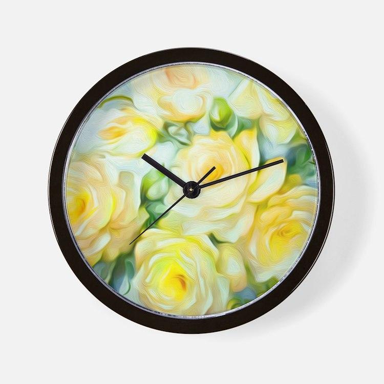 Shabby Chic Yellow Wall Clock