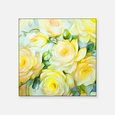 "Shabby Chic Yellow Square Sticker 3"" x 3"""