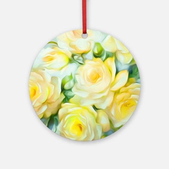 Shabby Chic Yellow Round Ornament