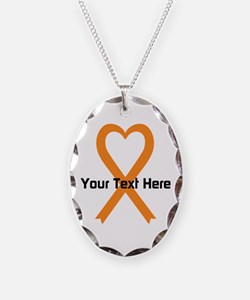 Personalized Orange Ribbon Hea Necklace Oval Charm