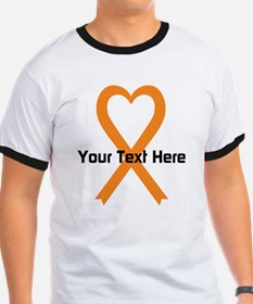 Personalized Orange Ribbon Heart T