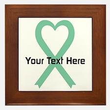 Personalized Light Green Ribbon Heart Framed Tile
