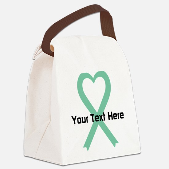 Personalized Light Green Ribbon H Canvas Lunch Bag