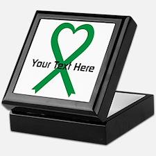 Personalized Green Ribbon Heart Keepsake Box