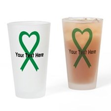 Personalized Green Ribbon Heart Drinking Glass