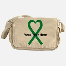 Personalized Green Ribbon Heart Messenger Bag