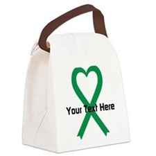 Personalized Green Ribbon Heart Canvas Lunch Bag