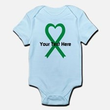 Personalized Green Ribbon Heart Infant Bodysuit