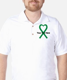 Personalized Green Ribbon Heart T-Shirt