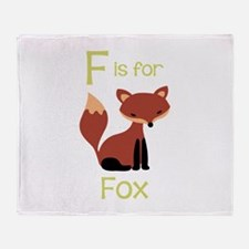 F Is For Fox Throw Blanket