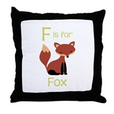 F Is For Fox Throw Pillow