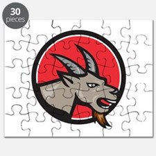 Angry Goat Head Circle Retro Puzzle