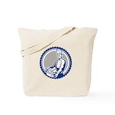 Baker Holding Basket Bread Loaf Retro Tote Bag