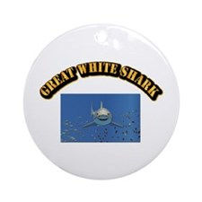 Great White Shark with Text Ornament (Round)