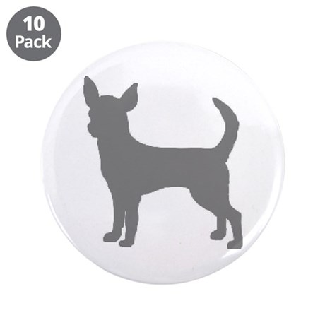 "chihuahua gray 2 3.5"" Button (10 pack)"