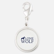 Lone Wolf Silver Round Charm