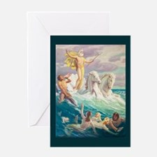 Titan Riding the Waves Greeting Cards