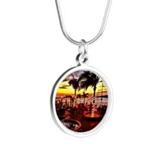 Sunset Grill Key West Silver Round Necklace