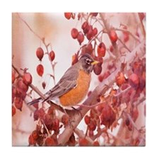Robin With Red Berries Tile Coaster