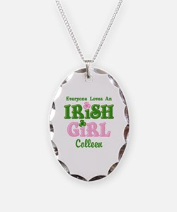 Personalized Loves An Irish Gi Necklace Oval Charm