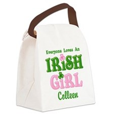 Personalized Loves An Irish Girl Canvas Lunch Bag