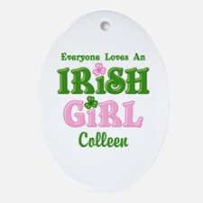 Personalized Loves An Irish Girl Ornament (Oval)