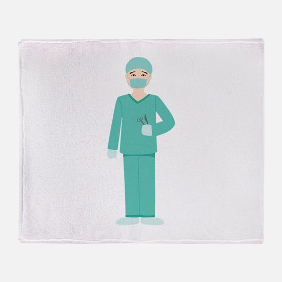 Male Surgeon Throw Blanket