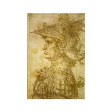 Profile of a warrior in helmet Rectangle Magnet