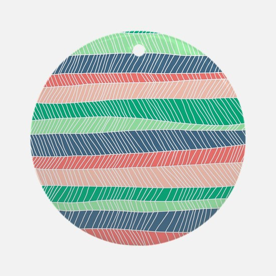 Stripe Dash - Spring Round Ornament
