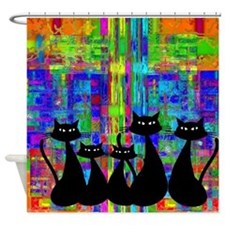 Black Cats 3 Shower Curtain