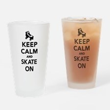 Keep calm and Skate on Drinking Glass