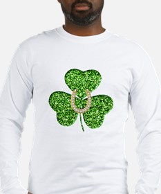 Glitter Shamrock And Horseshoe Long Sleeve T-Shirt
