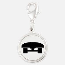 Skateboard logo icon Silver Round Charm