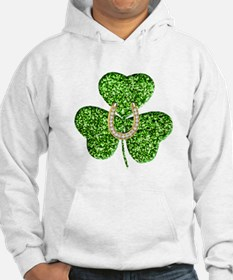 Glitter Shamrock And Horseshoe Hoodie