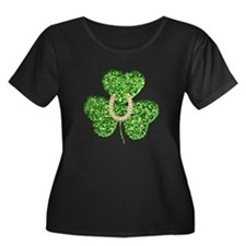 Glitter Shamrock And Horseshoe Plus Size T-Shirt