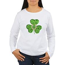 Glitter Shamrock And Horseshoe Long Sleeve T-Shirt