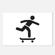 Skateboarder logo icon Postcards (Package of 8)