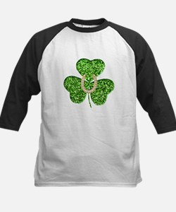 Glitter Shamrock And Horseshoe Baseball Jersey