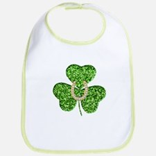 Glitter Shamrock And Horseshoe Bib