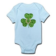 Glitter Shamrock And Horseshoe Body Suit