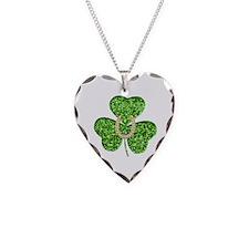 Glitter Shamrock And Horseshoe Necklace
