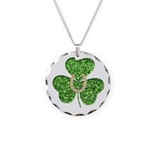 Glitter Shamrock And Horseshoe Necklace