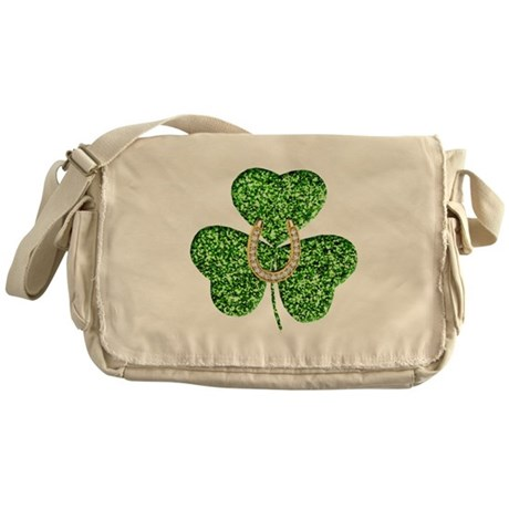 Glitter Shamrock And Horseshoe Messenger Bag