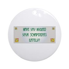 Hugged Schapendoes Ornament (Round)