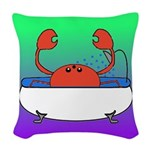 Crab in Tub (Green/Purple) Woven Throw Pillow