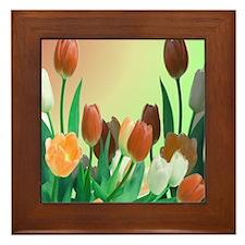 Rustic Garden Of Tulips Framed Tile