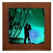 Lovers On The Beach Framed Tile (Green) Framed Til