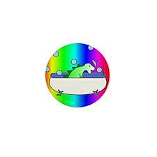 Dinosaur in Tub (Rainbow) Mini Button (10 pack)