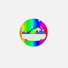 Dinosaur in Tub (Rainbow) Mini Button