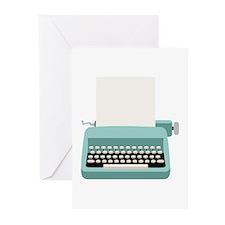 Blue Typewriter Greeting Cards